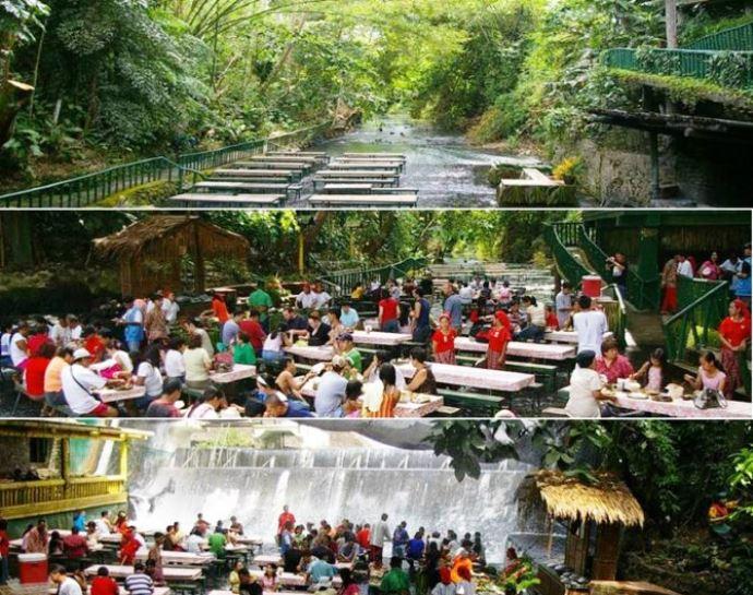 Удивительная Азия Филиппины ресторан-водопад 2