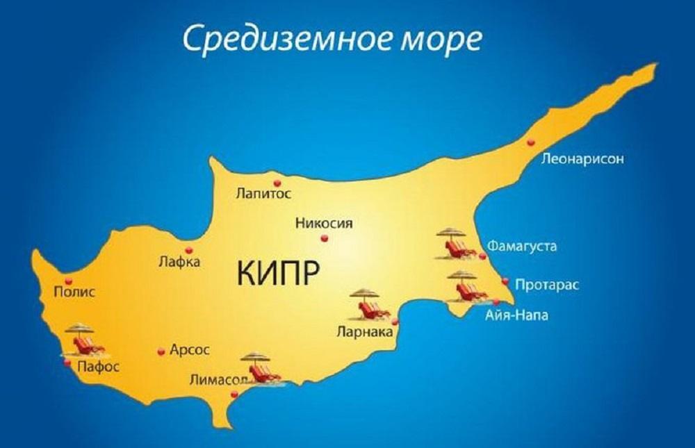 Карта Кипра с городами