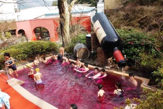 Удивительные курорты Азии: Hakone Kowakien Yunessun или винные спа-процедуры