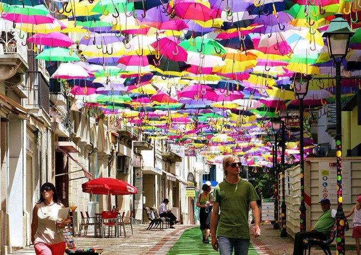 Avenue of floating umbrellas 3