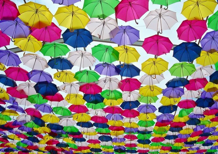 Avenue of floating umbrellas 4