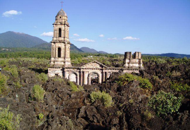 Church of San Juan Parangaricutiro destroyed by the volcano Paricutin 3