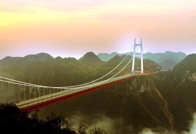 Мост Айчжай  самый длинный подвесной мост в мире 5