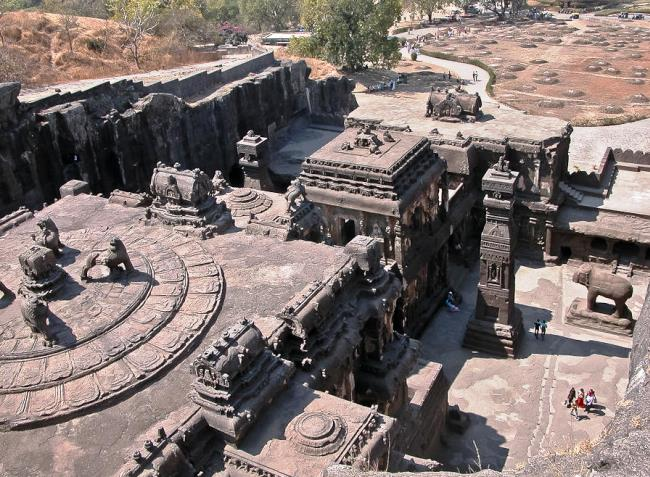 Carved out of the rock temple of Kailasa 2