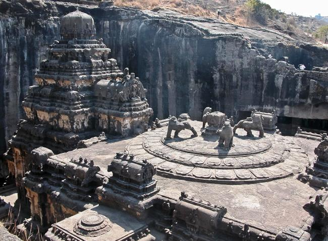 Carved out of the rock temple of Kailasa 4