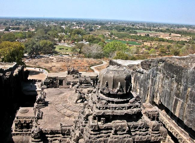 Carved out of the rock temple of Kailasa 3