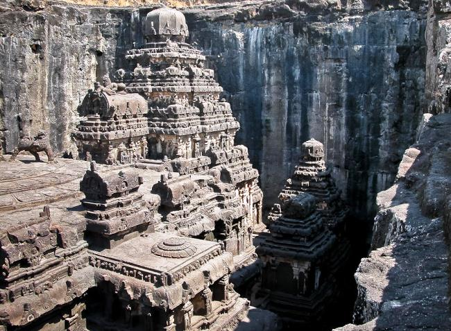 Carved out of the rock temple of Kailasa 5