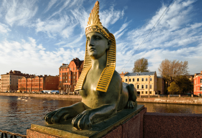 Egyptian sphinx in St. Petersburg and the white nights 2
