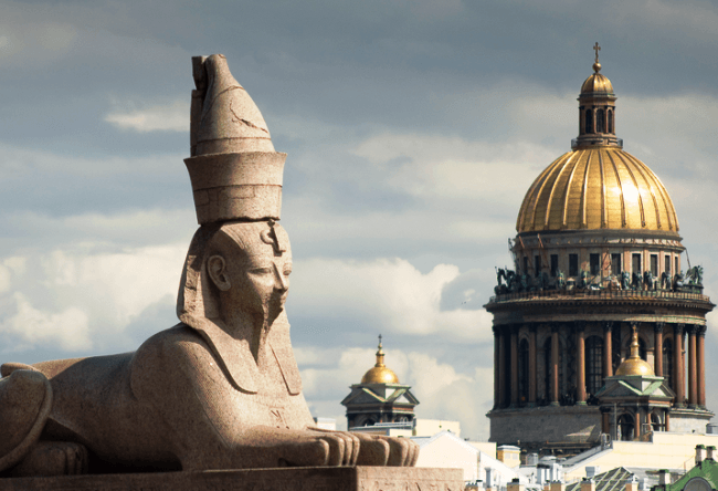 Egyptian sphinx in St. Petersburg and the white nights 5