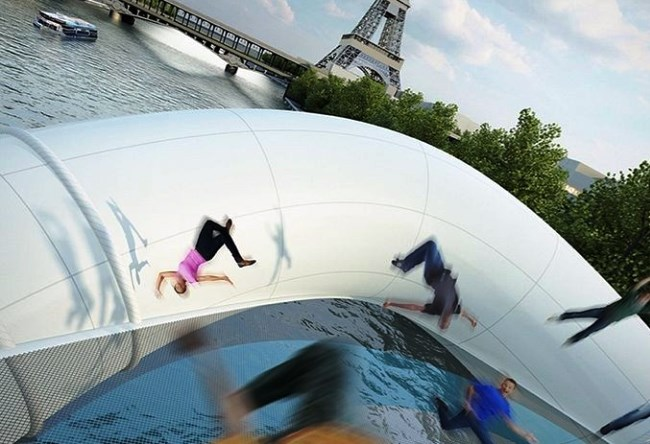 Trampoline over the Seine 4