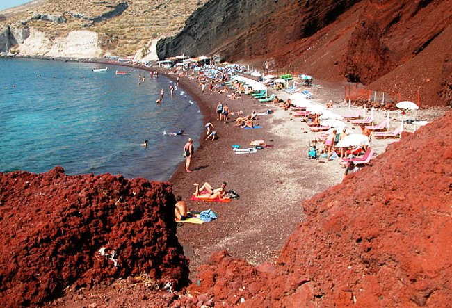 Burned land of island of Santorini 5