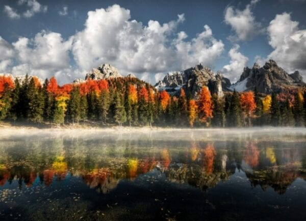 Landscapes of Lake Misurina or a trip to the Dolomites