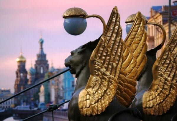 Golden griffins of Saint-Petersburg