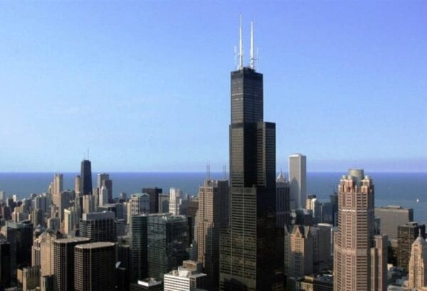 The unique building of the Sears Tower in Chicago