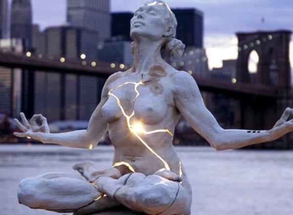 New York. Girl in lotus pose