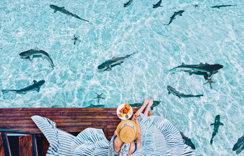 devushka-plate-shliapka-zavtrak-voda-okean