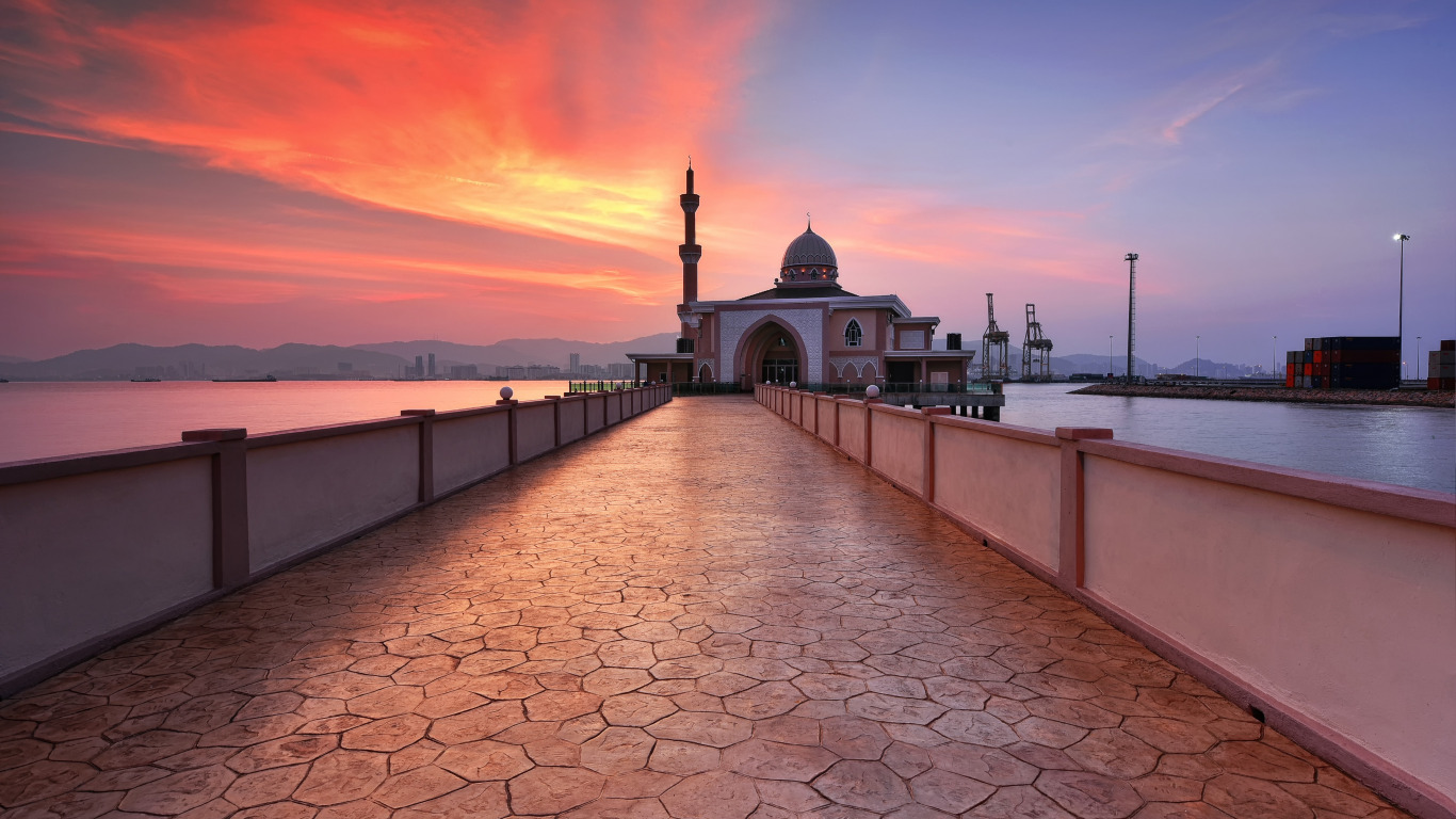 penang-port-mosque-sunset-malaysia
